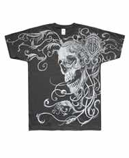 Tričko Engraved Skull Grey All Print